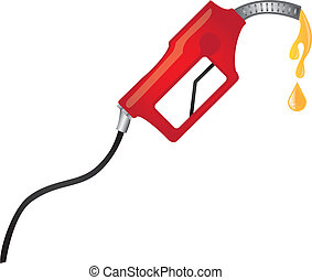 red fuel pump with yellow raindrops vector illustration