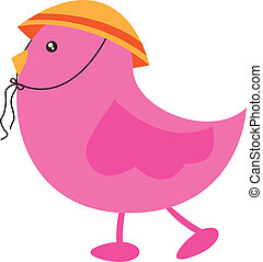 cute bird - pink cute bird with hat over white background....