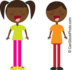 black child cartoons over white background vector...