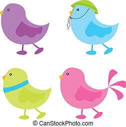 cute birds over white background vector illustration