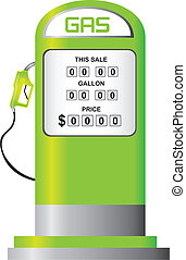 fuel pump vector - green fuel pump isolated over white...