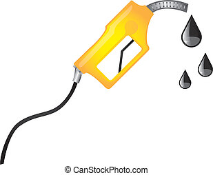 fuel pump - yellow fuel pump with raindrops. vector...