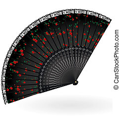 retro black fan - on a white background is old black fan