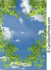 love heart green leave against blue sky