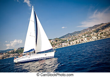 Sailing ship yacht in open sea - Sailing ship yacht with...