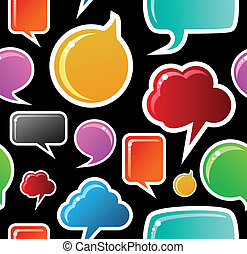 Social media bubbles pattern background - Social speech...