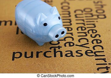 Purchase and piggy bank concept