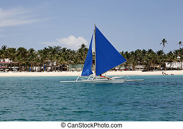 Island Boracay - Traditional Philippine boat in a gulf....
