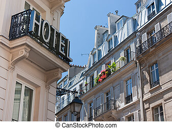 Hotel in Paris - View of an hotel and buildings with typical...