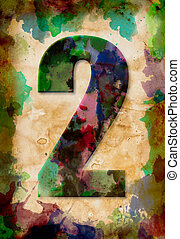 number two watercolor on vintage paper