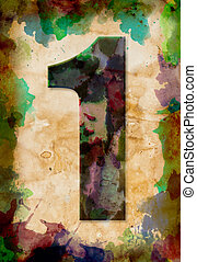 number one watercolor on vintage paper