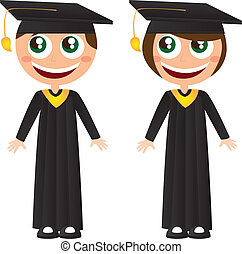 graduates - girl and boy graduates with hat cartoons vector...