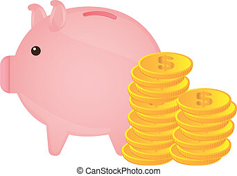 piggy with coins - piggy with gold coins over white...