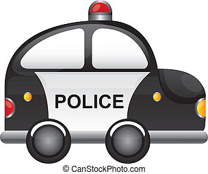 police car - black and white police car with red light...