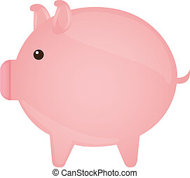 piggy vector - pink piggy isolated over white background....