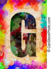 Letter G watercolor on vintage paper