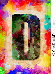 Letter D watercolor on vintage paper