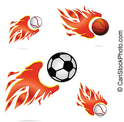 creative sport fly and fire balls set isolated