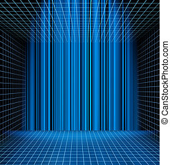 Abstract blue grid space - Abstract blue grid perspective...