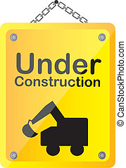 under construction with truck vector illustration yellow...