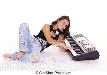 girl with piano - cute girl with piano and texts on white