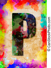 Letter P watercolor on vintage paper