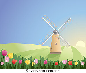 windmill with tulips - an illustration of a windmill with...