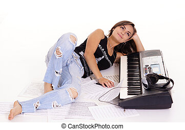 musician at piano - cute girl with piano and texts on white