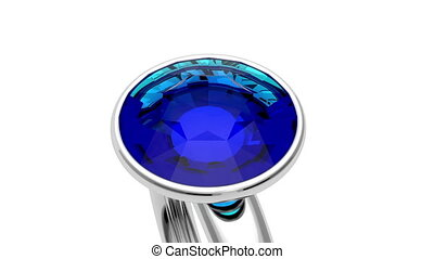 Platinum ring - Presentation of platinum ring with blue...