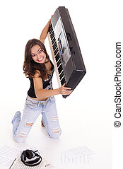 young woman at piano - cute girl with piano and texts on...