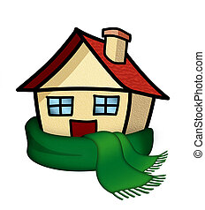 house with scarf - Illustration of a house with a scarf...