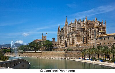 Majorca Cathedral - Panoramic of the Cathedral of Palma de...