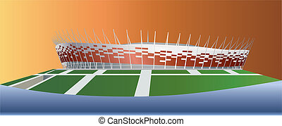 National Stadium in Warsaw Color vector illustration
