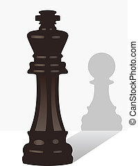 vector chess king with the shadow of a pawn