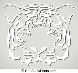 vector paper tiger head - vector illustration of paper tiger...