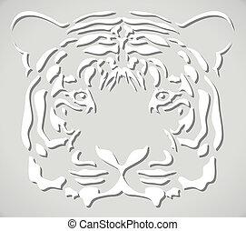 vector paper tiger head