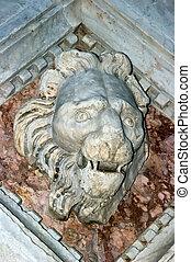 Siena Italy Baptistery of John Baptist : detail of facade -...