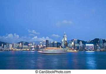 Hong Kong harbour at dusk