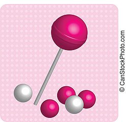 gums - Vector illustration of pinl lollipop and gums