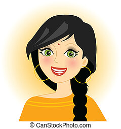 indian girl  - Vector illustration of smiling indian girl