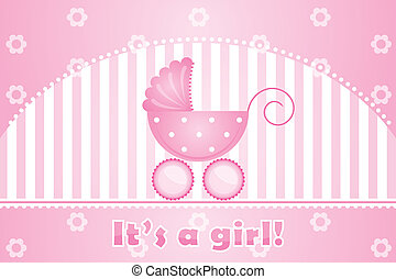 "it's a girl - Vector ""it's a girl"" pink background"