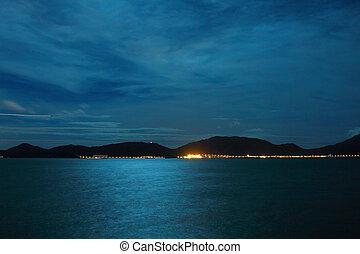 Full moon light over the ocean