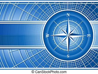 Blue background with compass rose. Includes vector EPS 10