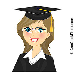 graduation girl - Vector illustration - graduation girl