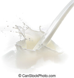milk splash - pouring milk splash isolated on white...