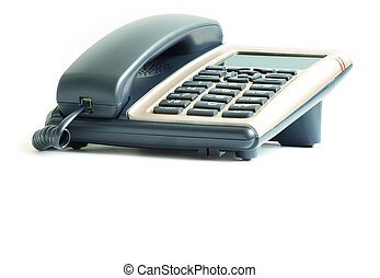 telephone - blue office telephone isolated on a white...
