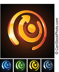 Color vibrant emblems. - Vector illustration of direction...