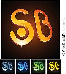 3d SB emblems - Vector illustration of 3d SB symbols