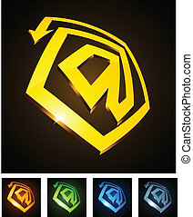 "3d vibrant ""at"" emblems. - Vector illustration of 3d ""at""..."