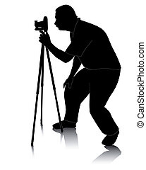photographer with Cameras with tripod - black silhouette of...